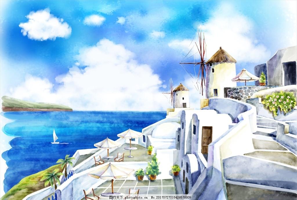 手绘地中海风景 手绘风景 手绘风光 手绘自然风景 自然风景画 墙纸