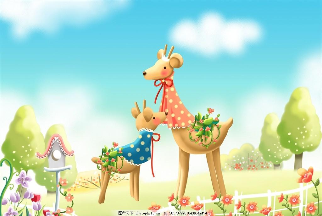 墙纸卡通画 手绘卡通风光 风景漫画 卡通建筑 卡通动物 卡通长颈鹿
