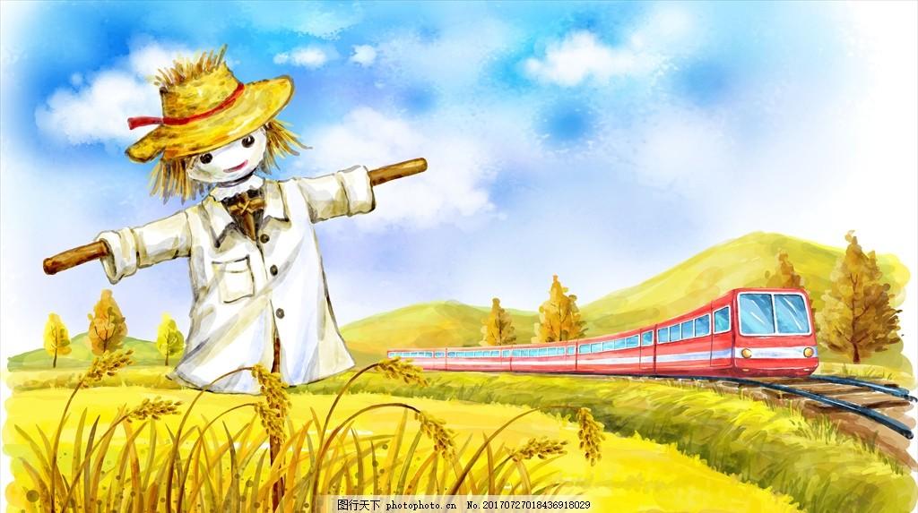 手绘稻草人 手绘风景 手绘风光 手绘自然风景 自然风景画 墙纸风景画