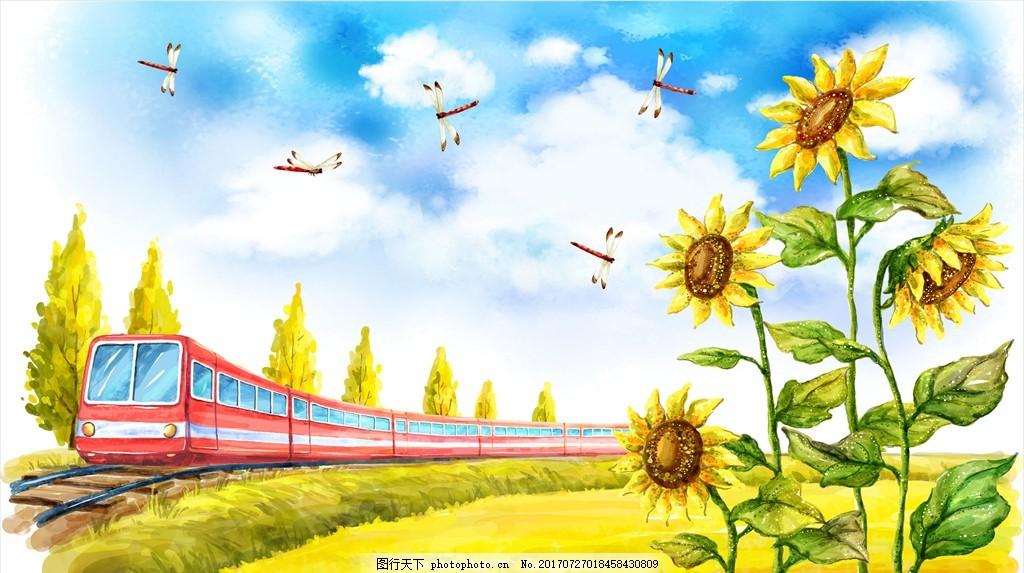 风景漫画 手绘火车 手绘铁轨 手绘向日葵 城市 自然 环境 设计 动漫动