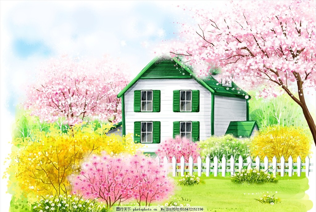 手绘乡村别墅 手绘风景 psd文件 手绘风光 手绘自然风景 自然风景画