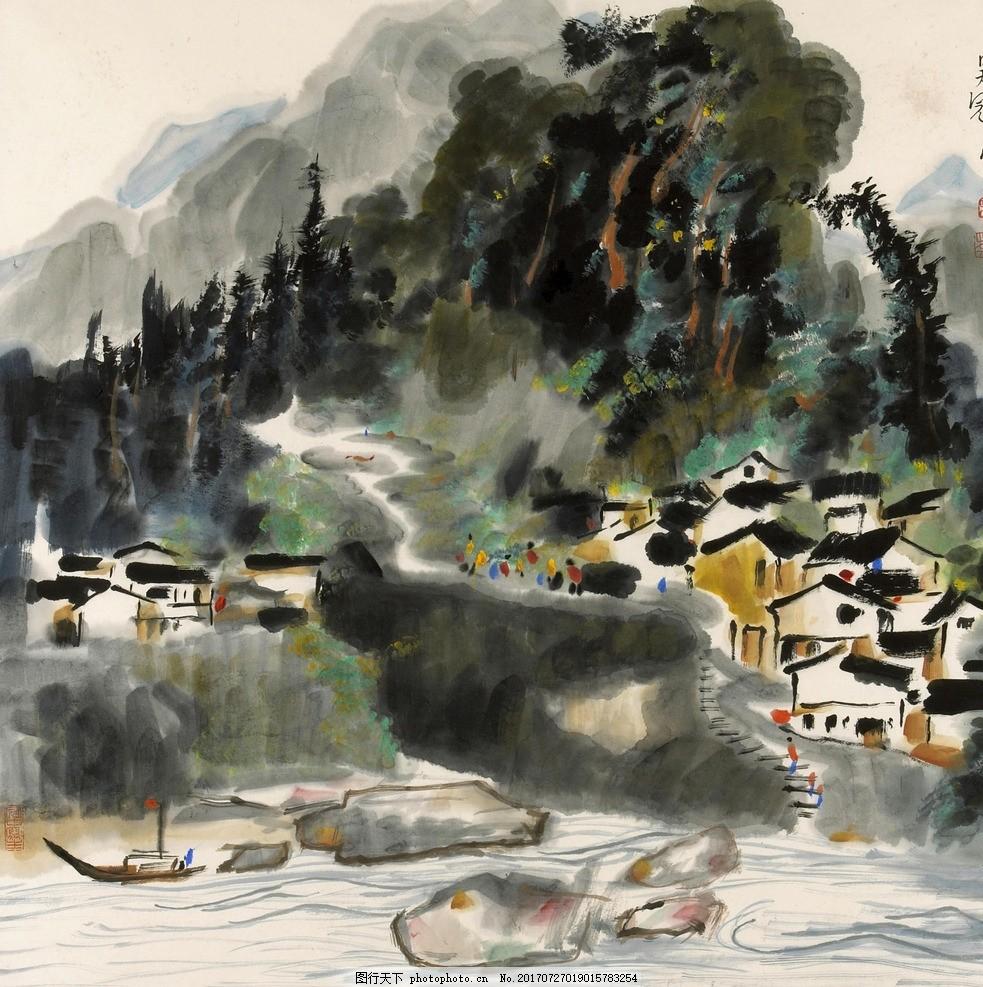 中国风 水墨画 山水画 泼墨 水墨山水 水墨江南 国画 设计 文化艺术