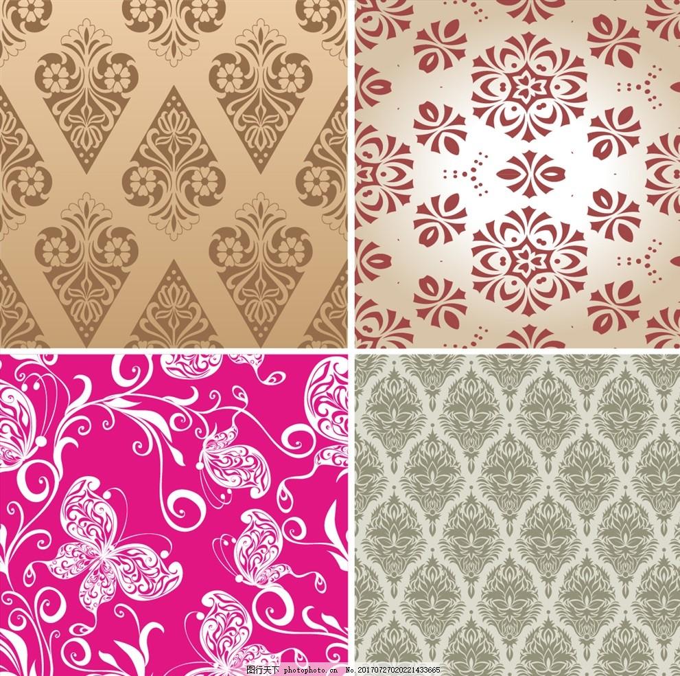 矢量花纹墙纸壁画 家纺四件套 欧式花纹 四方连续 定位印花 面料图案
