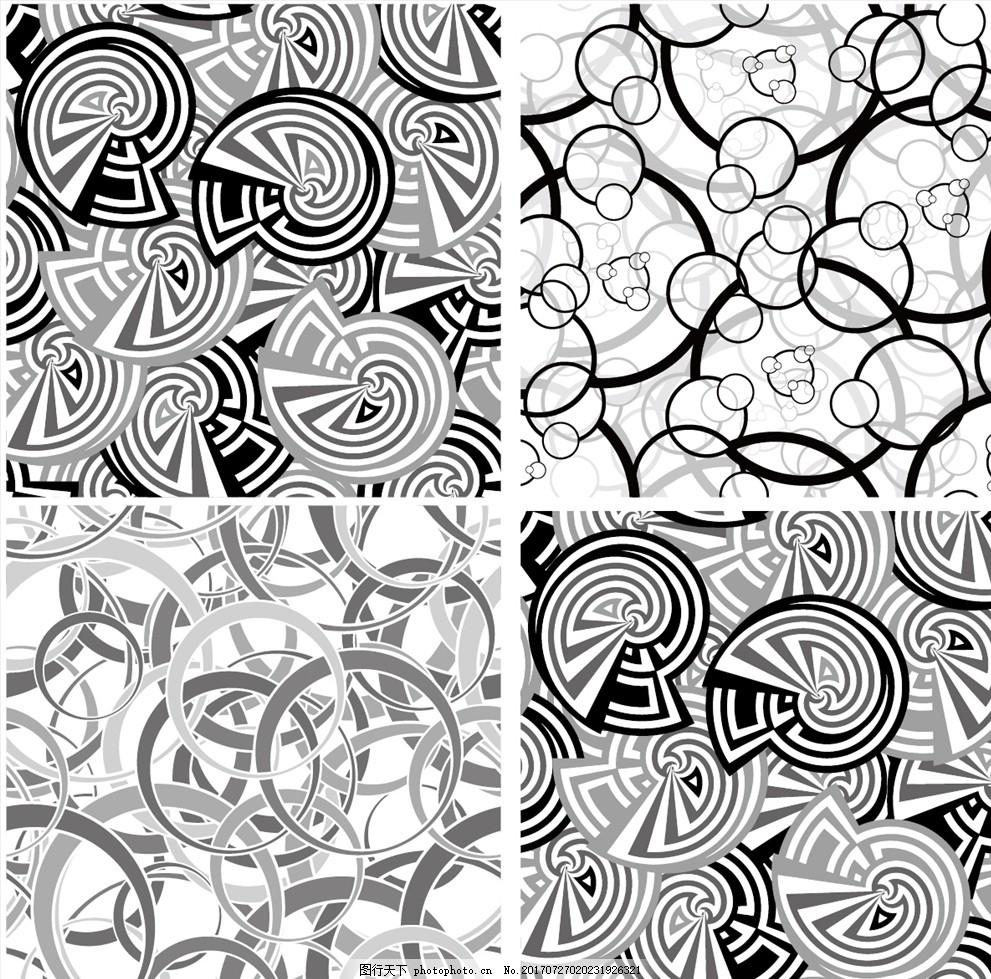 黑白线描矢量手绘墙纸壁画 家纺四件套 欧式花纹 四方连续 定位印花