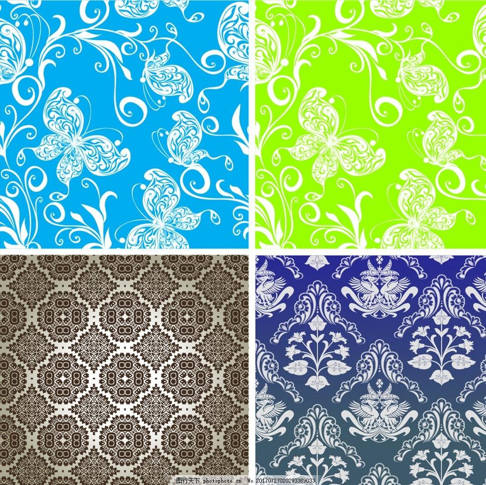 矢量欧式花纹墙纸壁画 家纺四件套 四方连续 定位印花 面料图案设计