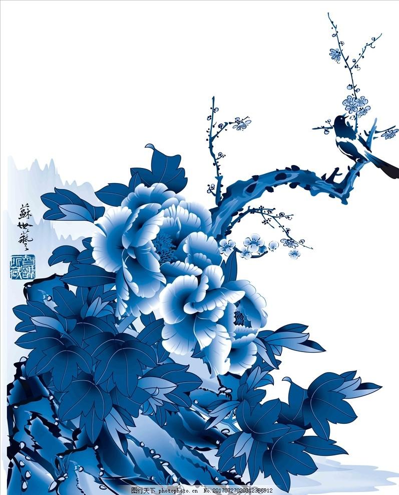 青花瓷图案,艺术玻璃 青花瓷玻璃 玻璃贴画 移门图案