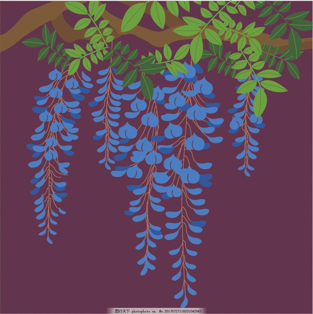 蓝色花草背景图 广告设计 广告背景图 背景图片下载 矢量背景图