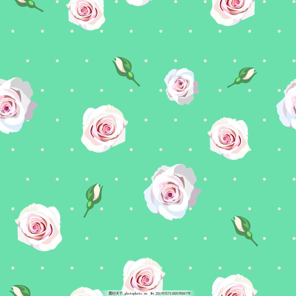 蓝色背景花朵纹理图案矢量背景 玫瑰花 含苞待放