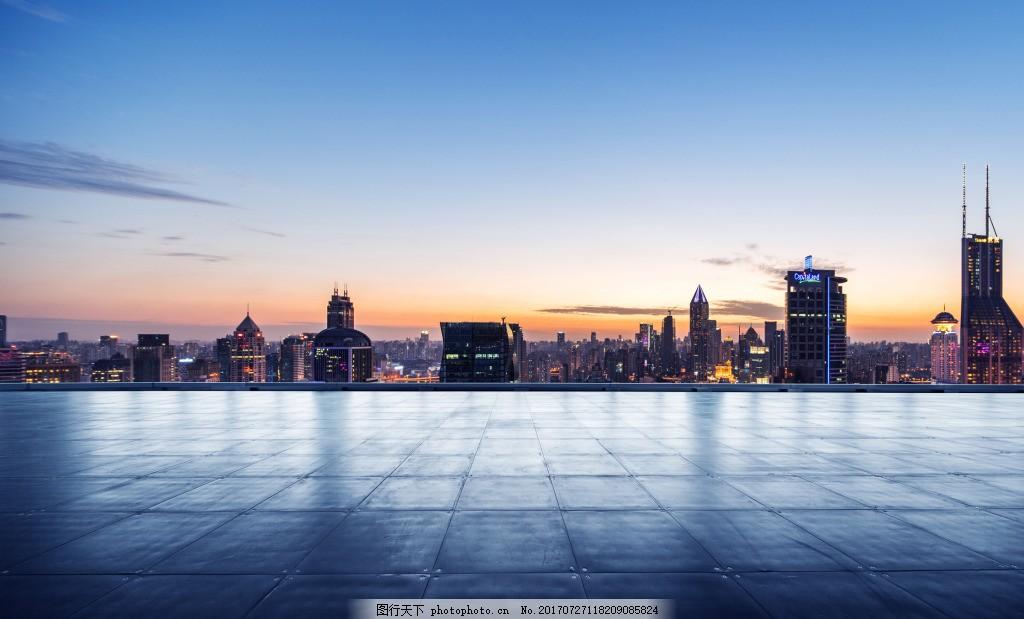 大气现代远方建筑背景 城市 风景 夕阳 玻璃地面