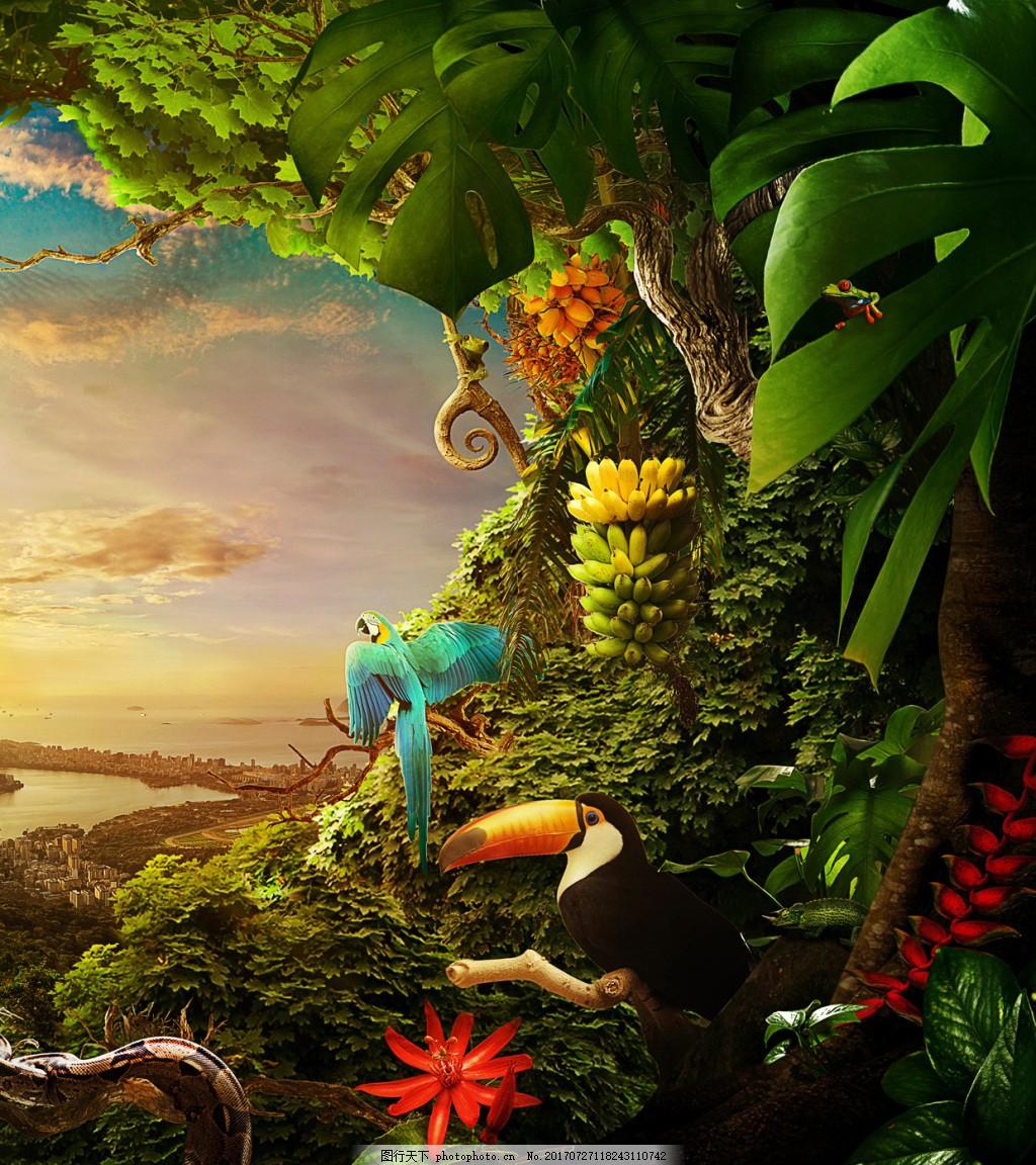 梦幻小清新鹦鹉森林背景 唯美 天空 远方 风景 保护环境