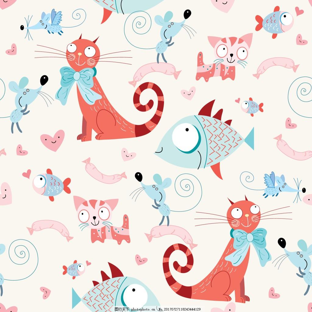 卡通猫和鱼可爱动物图案矢量素材