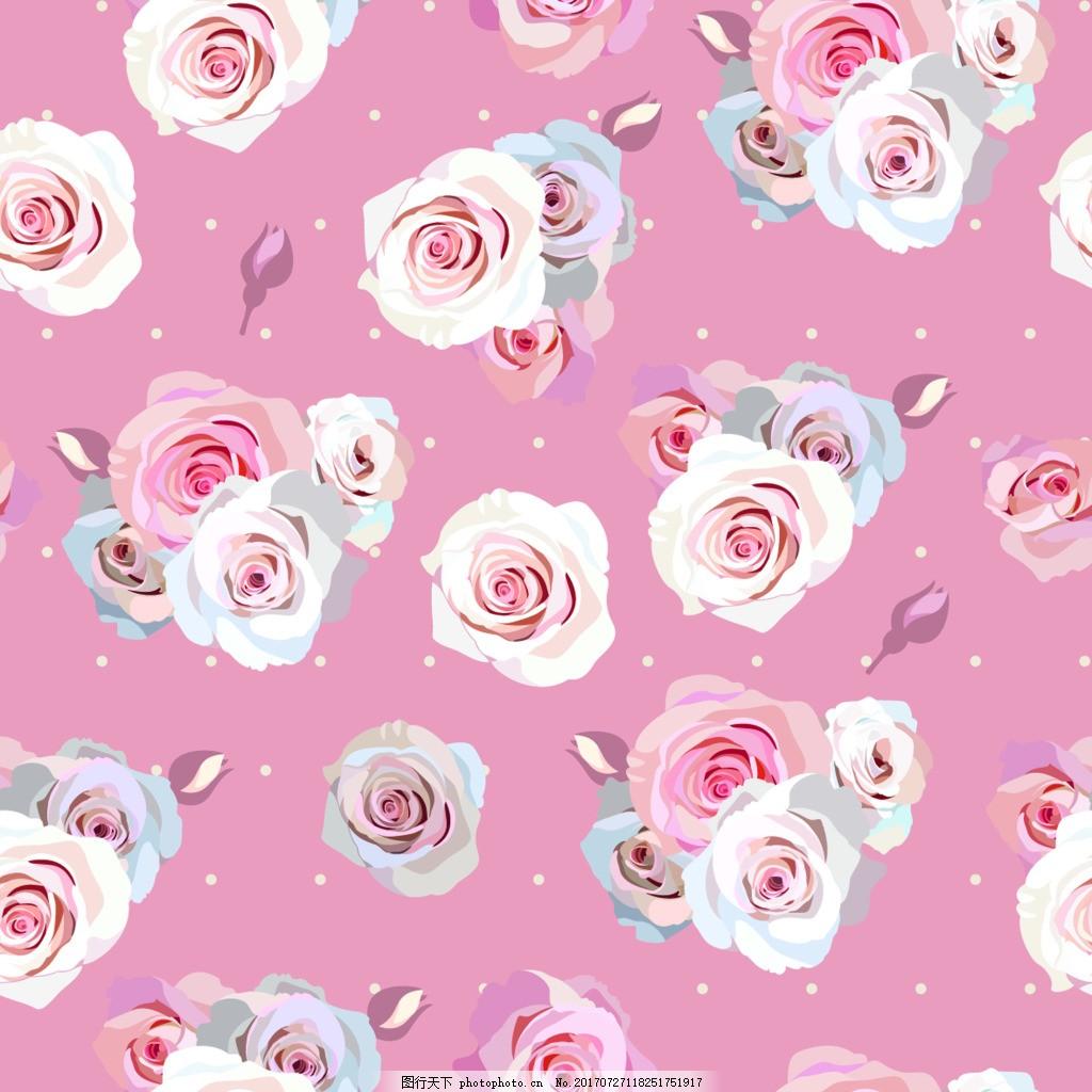 粉色花束纹理图案矢量背景 玫瑰花 花朵 浪漫