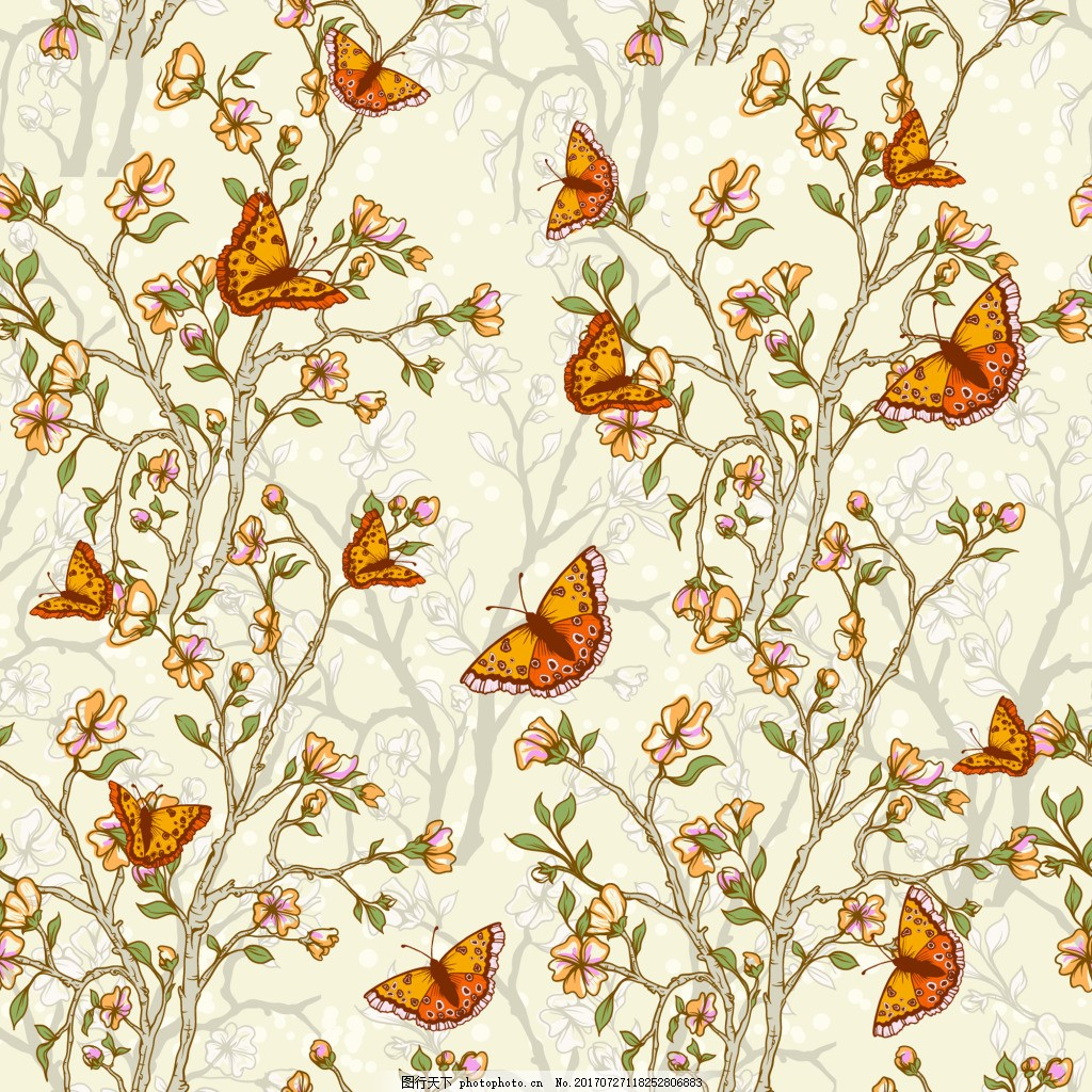 手绘花枝背景矢量素材 黄色 卡通 蝴蝶 填充背景 矢量素材 平面设计
