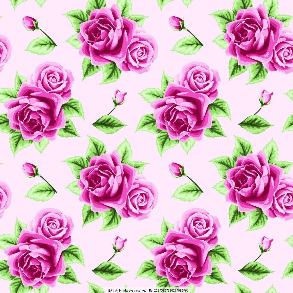 粉红色玫瑰花蕾丝矢量背景 绿叶 花朵 可爱 卡通 平面设计素材 填充