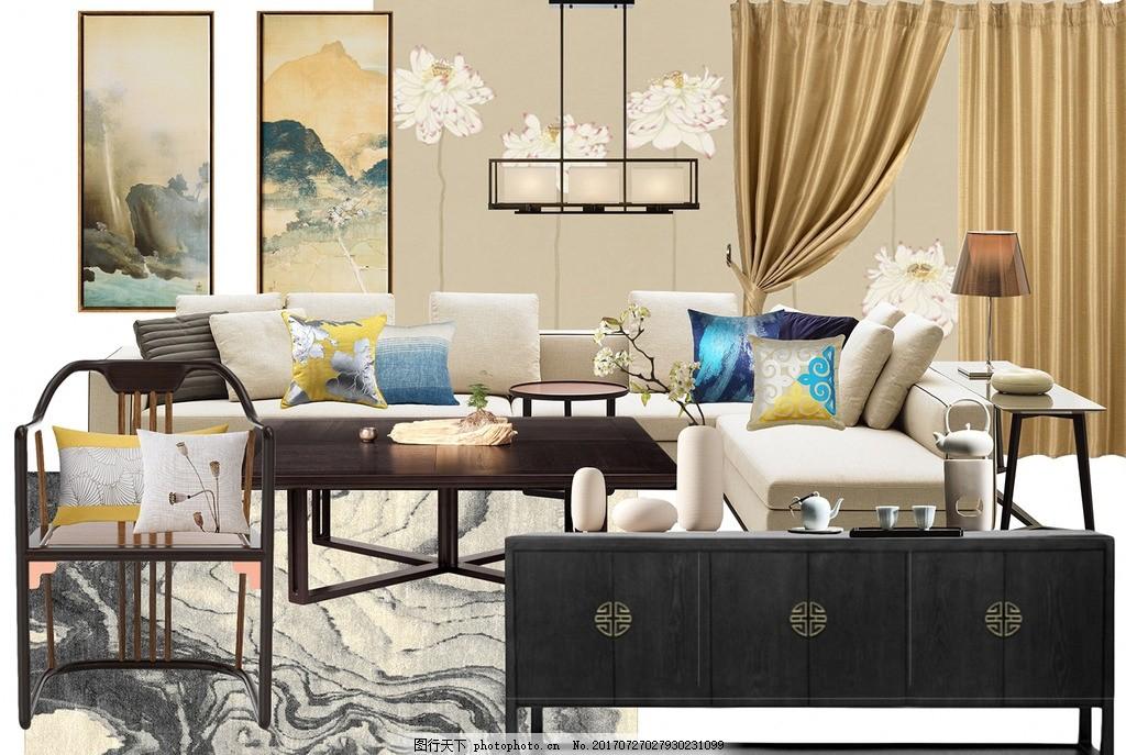 新中式客厅 新中式      软装 设计 室内 设计 环境设计 室内设计 72