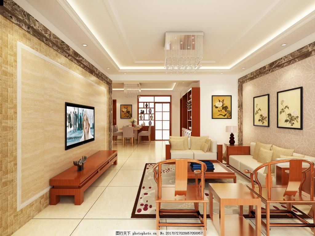 新中式客厅效果图 影视墙 电视 沙发 装饰画 茶几 柜子