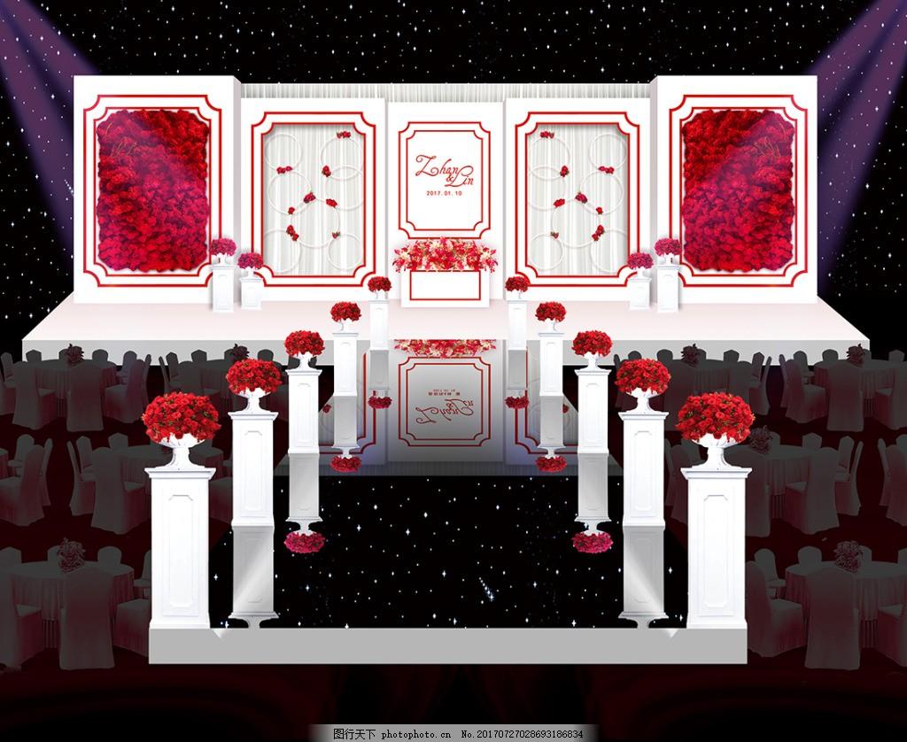 紅玫瑰白舞臺婚禮舞臺效果圖 紅白婚禮舞臺 簡約 簡約婚禮 紅白主題婚禮