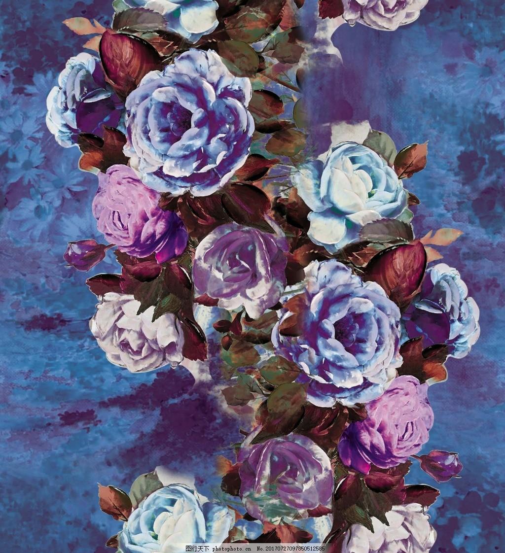 牡丹花油画装饰画 油画花朵 印花 底纹花