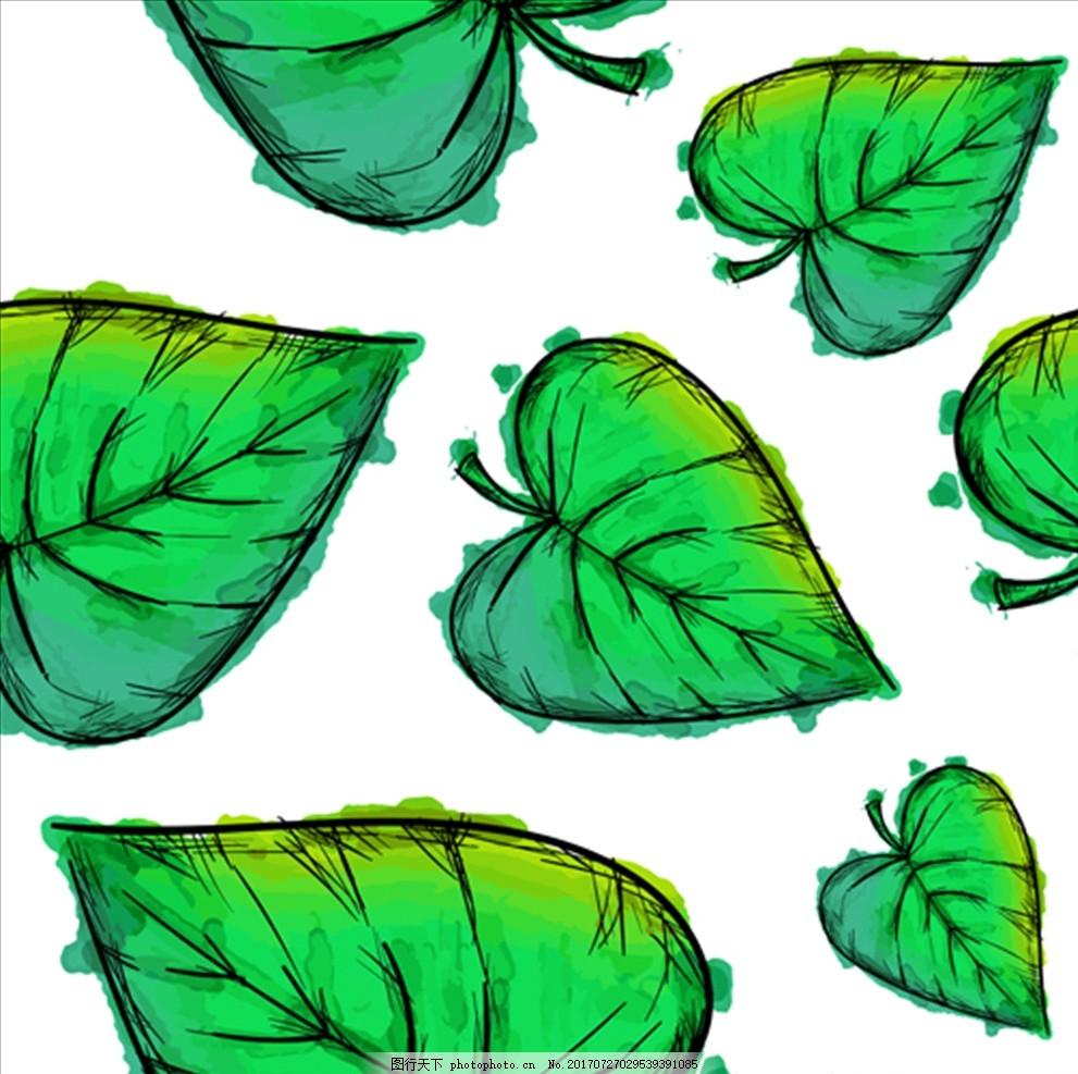 绿色的水彩树叶插图