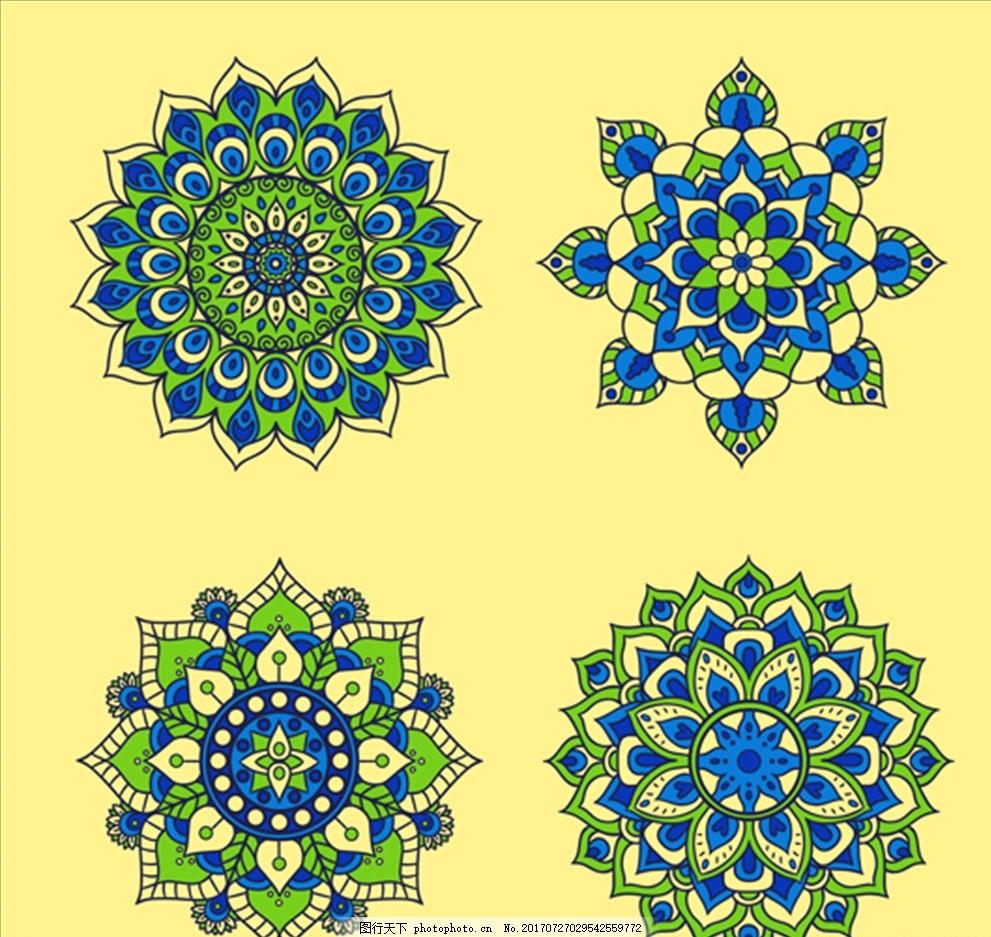 曼陀罗装饰花纹手绘
