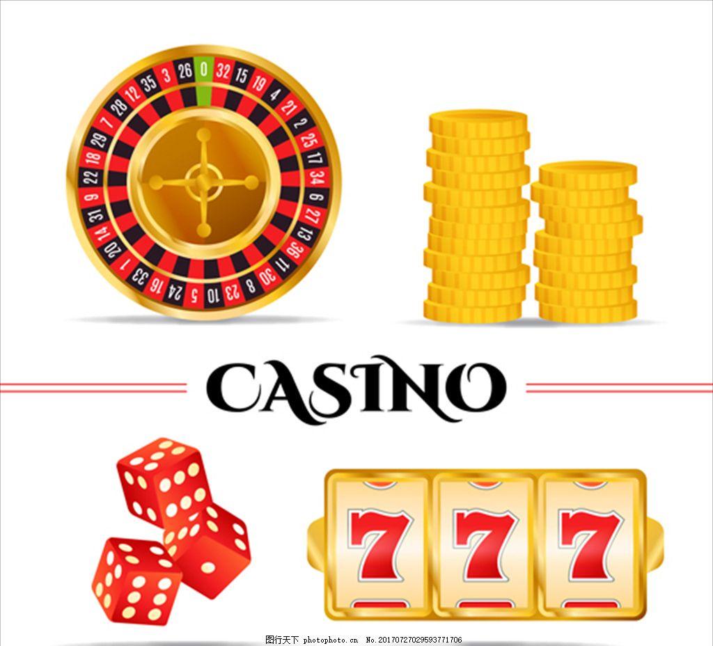 赌场游戏元素的集合 扑克 筹码 骰子 钞票 美元 娱乐 休闲 赌神
