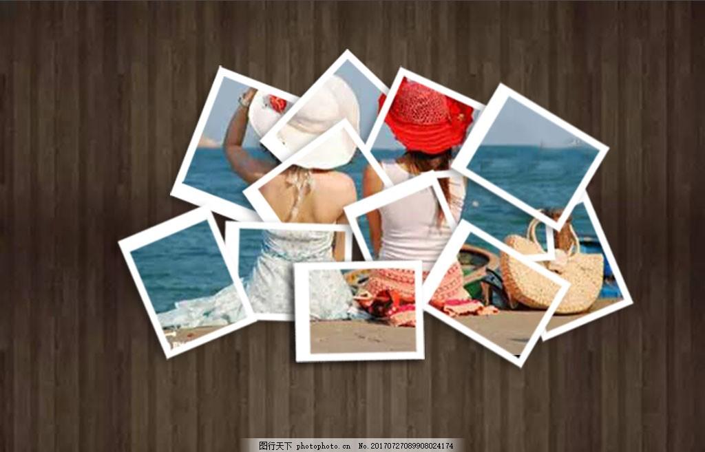 创意照片拼贴写真模版 木板 唯美 个人写真模版 照片模版