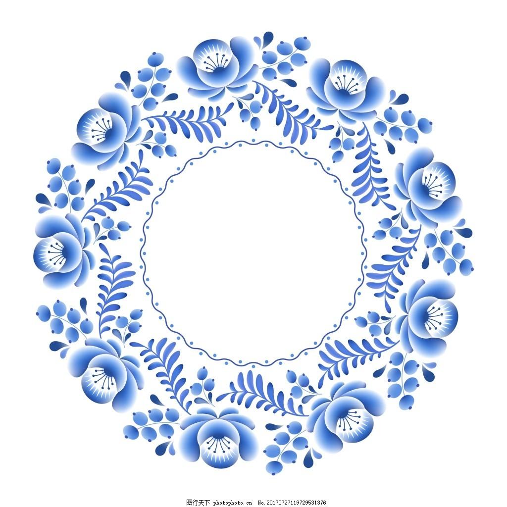 圆圈青花瓷中国风典雅花 边框 装饰 饰品 艺术 花朵 植物 自然