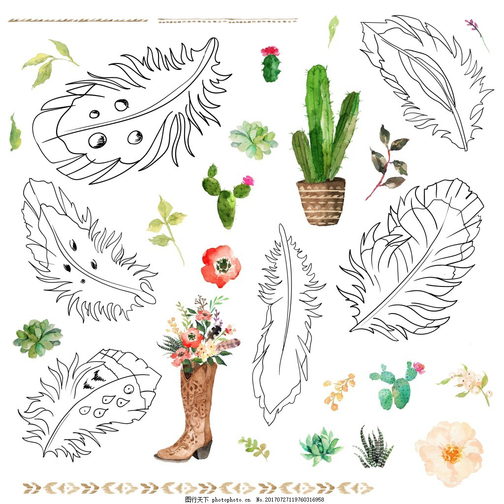 手绘时尚叶子图案 彩色 水彩绘 时尚 叶子 植物 图案 仙人掌 鞋子