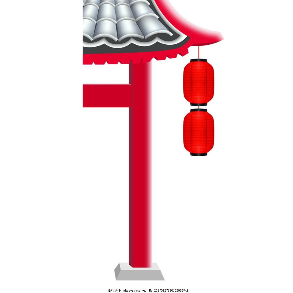 中国风喜庆灯笼png免扣元素 房檐 屋檐 红灯笼 透明