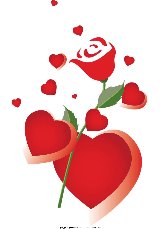 红玫瑰png免扣元素 玫瑰花 心 红心 心形 浪漫 情人节 七夕