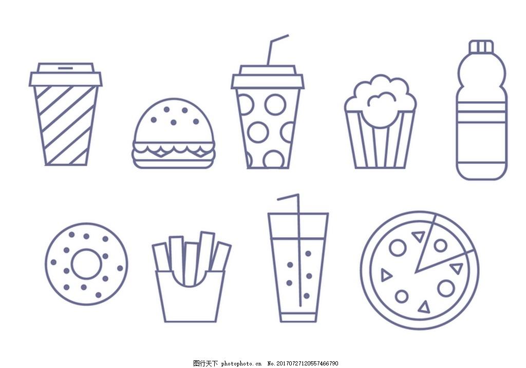 西餐线性图矢量素材 咖啡 可乐 汉堡 爆米花 甜甜圈 薯条 饮料