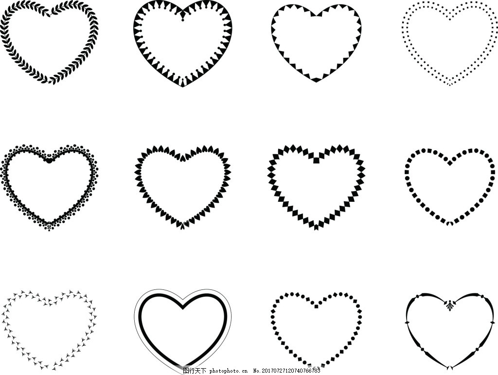 纯白爱心边框矢量素材 空心 白色 黑色 线条 下载 节日装饰 纹理