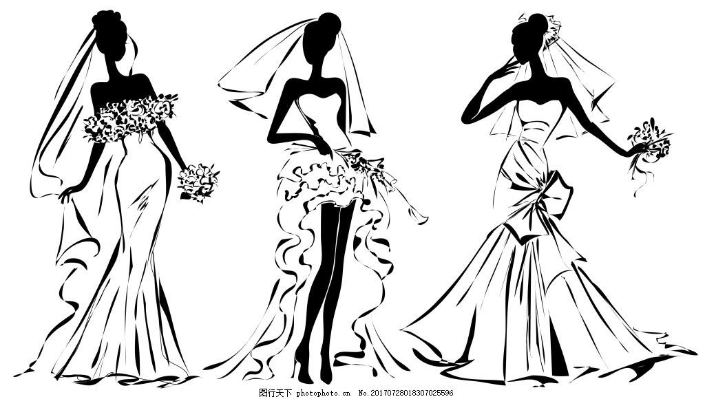 手绘时尚婚纱人物插画 手绘 时尚 结婚 婚纱 新娘 人物 时装 插画