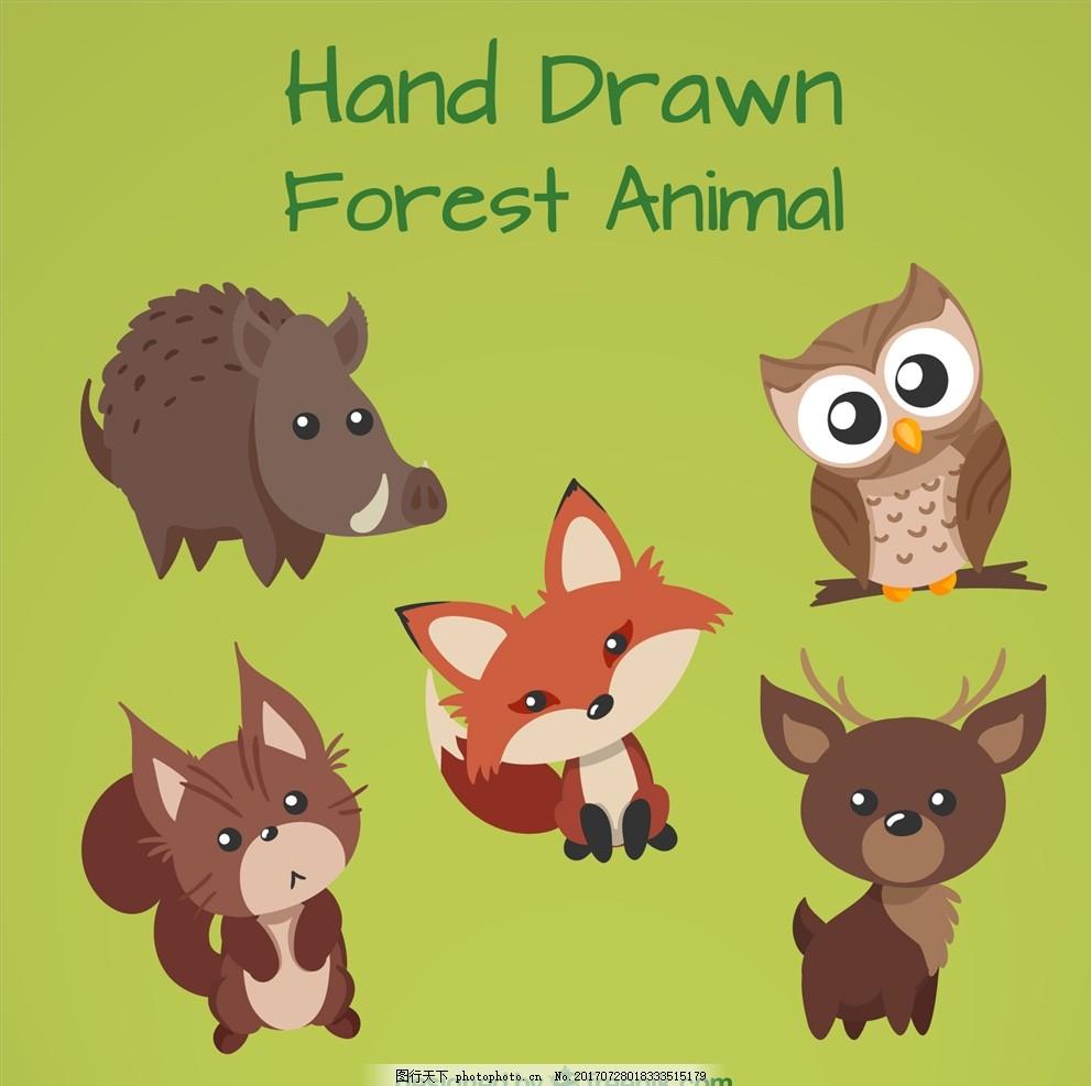 小动物漫画 小动物图案 q版插图 q版动物 插画 简笔画 可爱狐狸 卡通