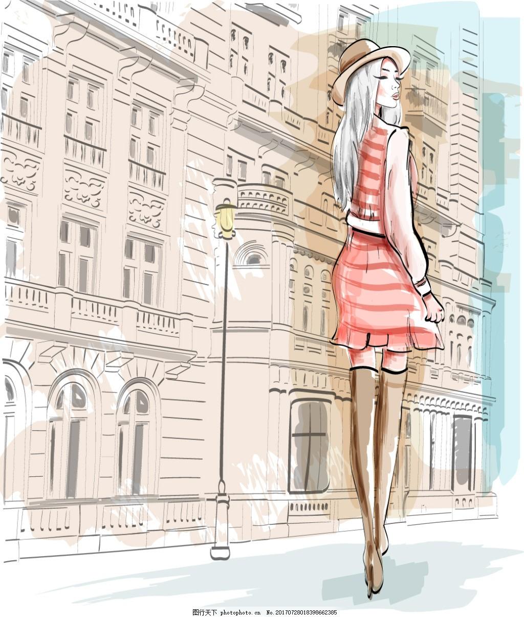 手绘街头女郎插画 建筑 水彩绘 路灯 背影 人物