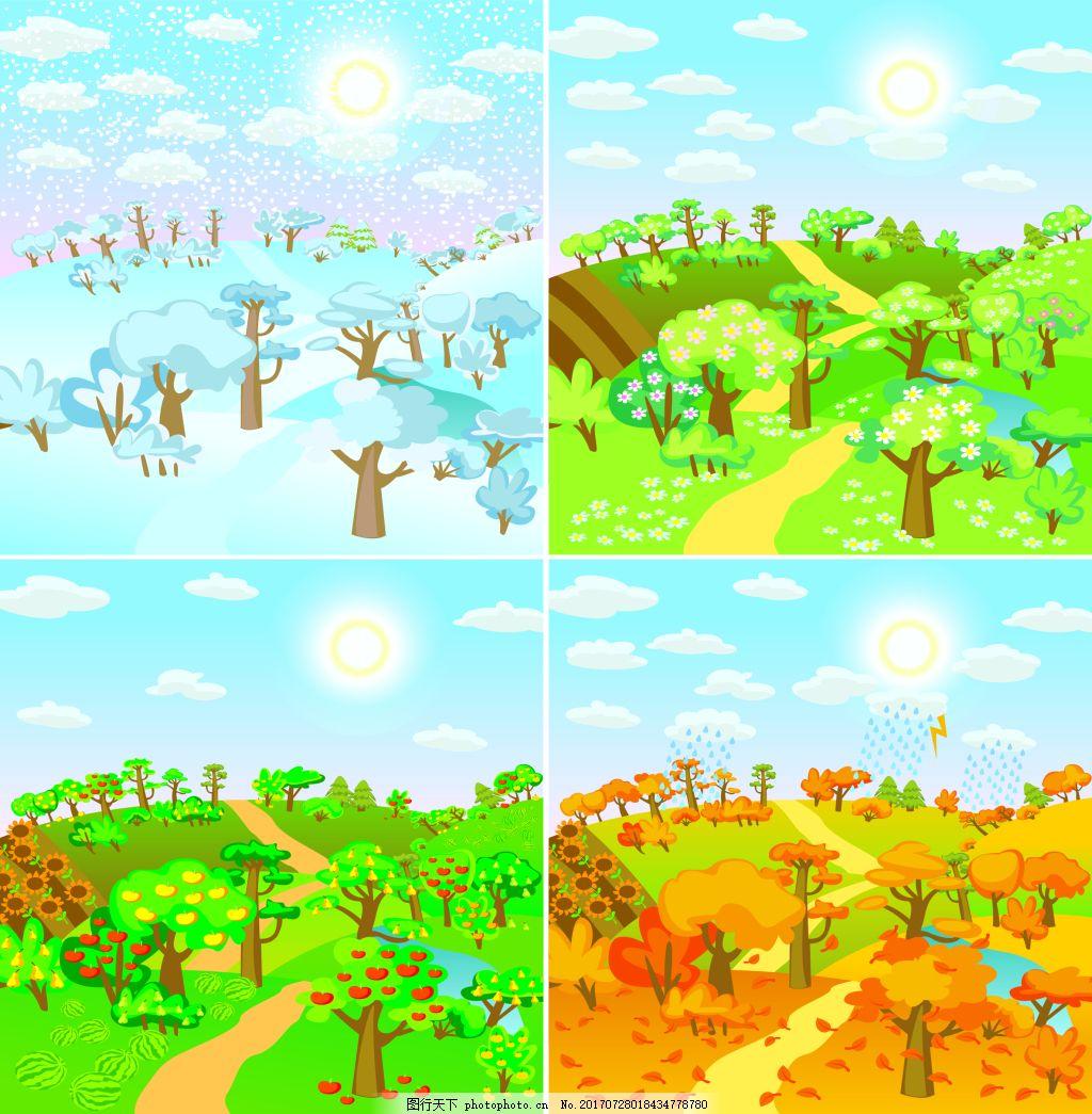 太阳 蓝天 白云 春天 夏天 秋天 自然 风景 插画 树林 小路