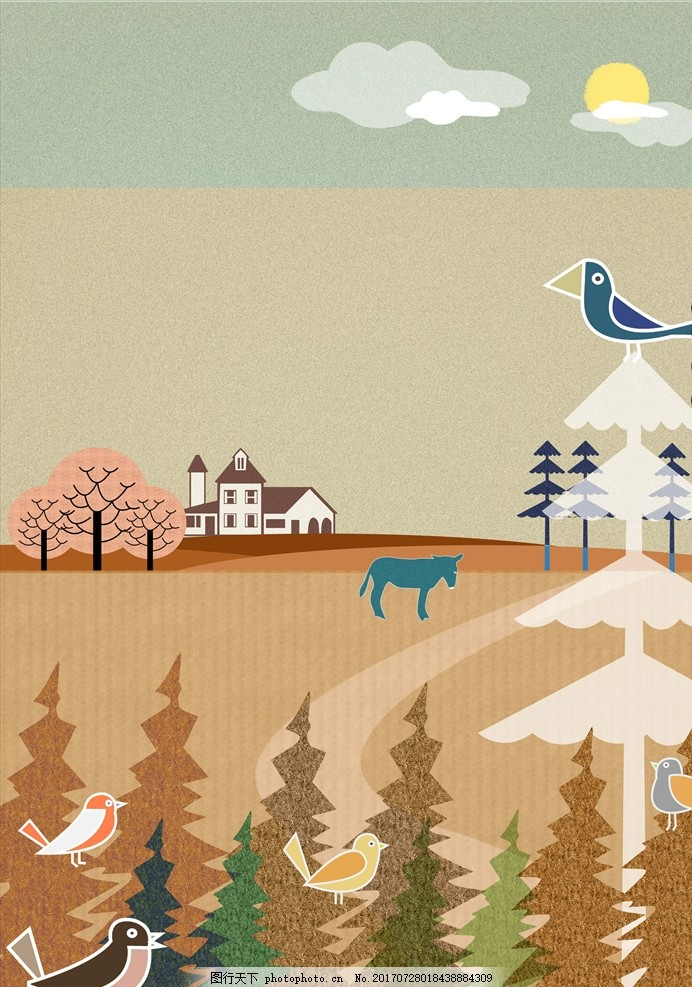 农村风景插画 风景画 简笔画 印象画 简笔插画 壁挂画 抽象装饰画