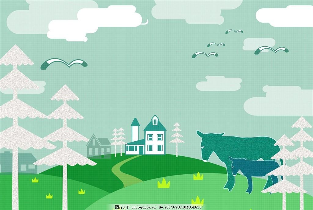 乡村插画 风景画 简笔画 印象画 简笔插画 壁挂画 抽象装饰画