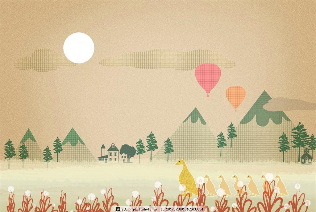 自然风景插画 风景画 简笔画 印象画 简笔插画 壁挂画 抽象装饰画