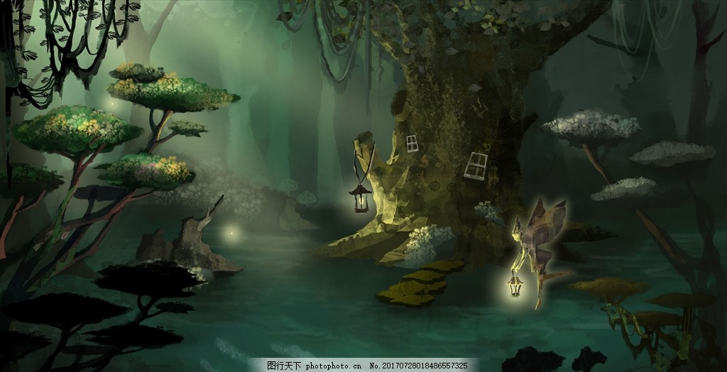 森林树屋插画 风景画 插画 印象画 壁挂画 抽象装饰画 家居装饰画
