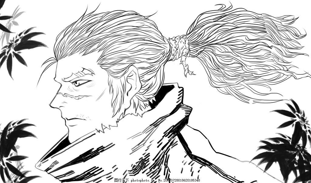 英雄联盟亚索黑白手绘