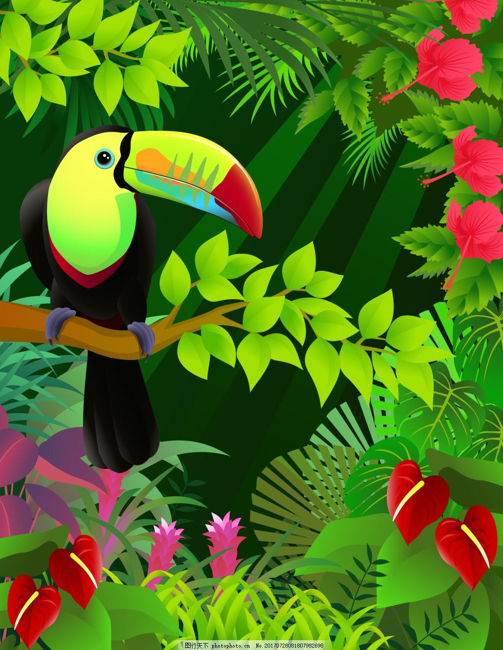 树林里的大嘴鸟插画 热带 树林 彩色 植物 动物 大嘴鸟 插画 花朵