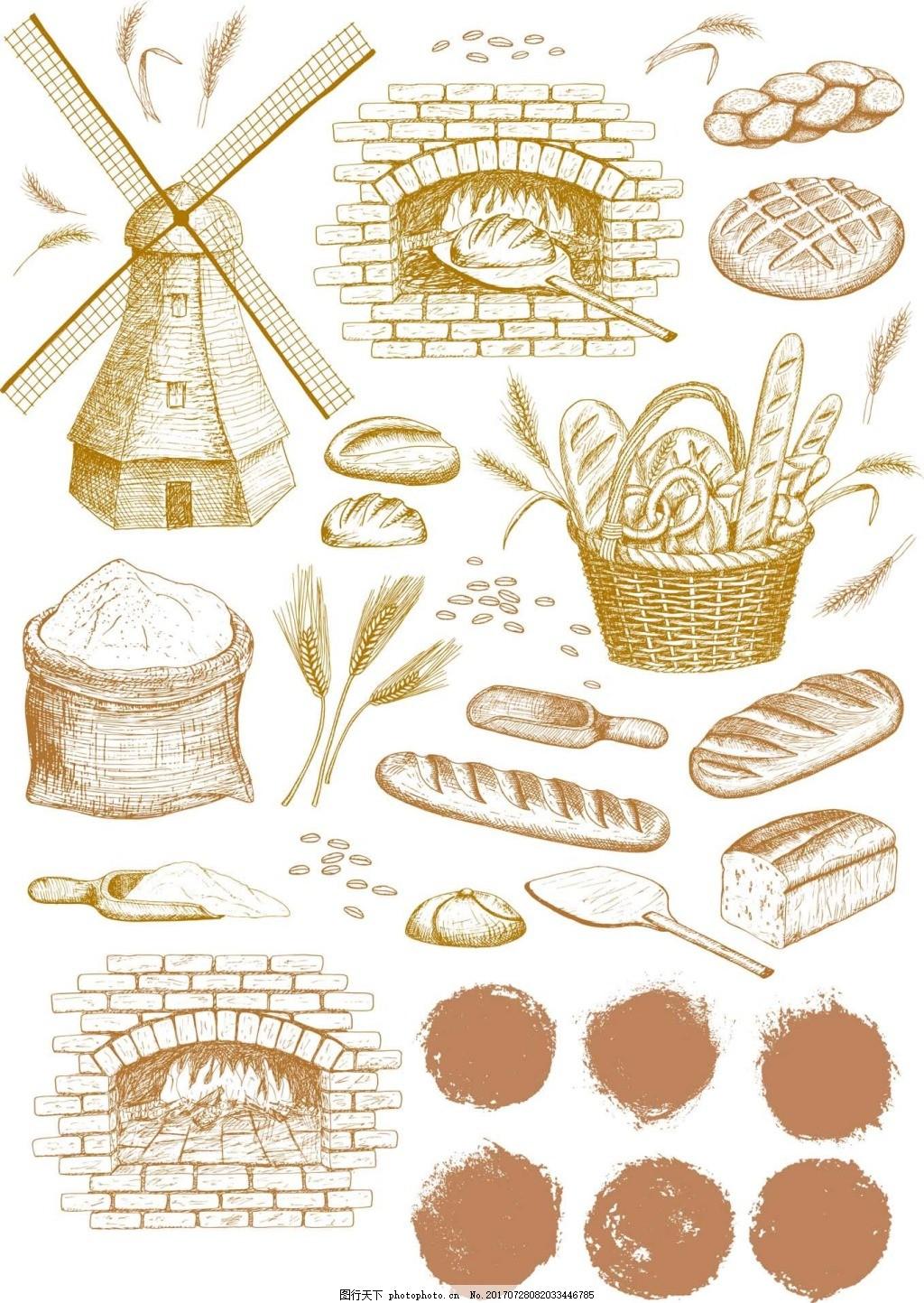 时尚烘焙手绘插画 风车 小麦 面包 面粉 烘烤炉 全麦 蛋糕