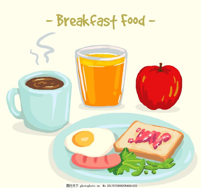 水彩绘美味早餐食物矢量
