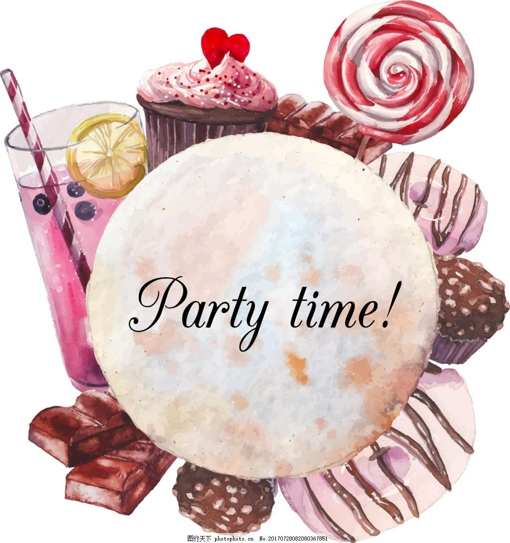 手绘甜品和饮料插画 蛋糕 糖果 巧克力 水果 下午茶 美味