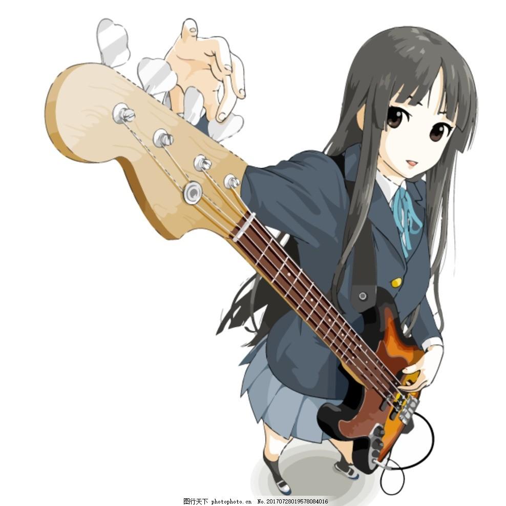 矢量 弹吉他的卡通美女