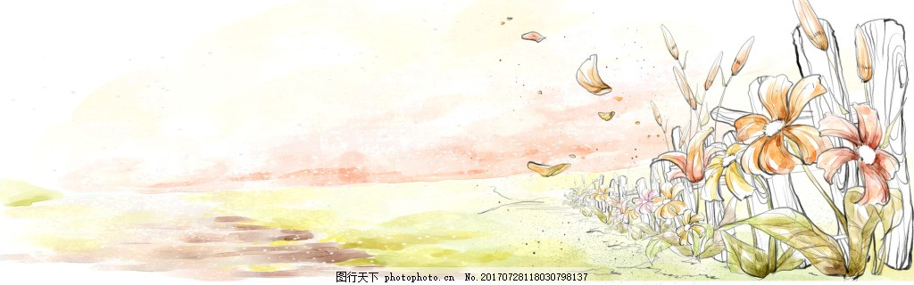 小清新花朵banner背景 企业文化 团队 背景素材
