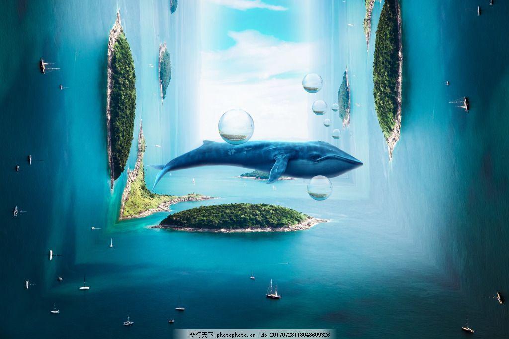 时空错乱海洋背景 鱼 海底 蓝色 气泡