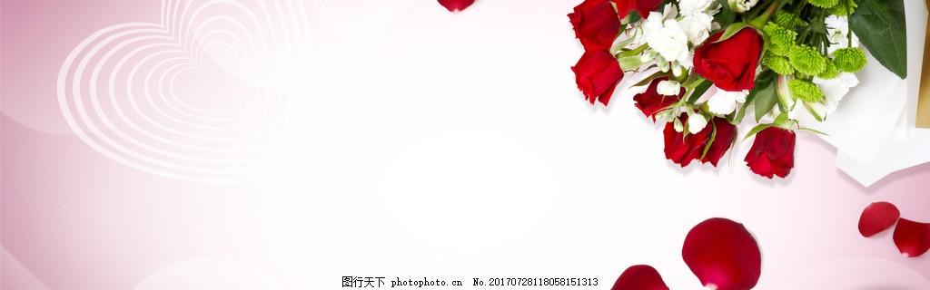 小清新玫瑰花朵banner背景