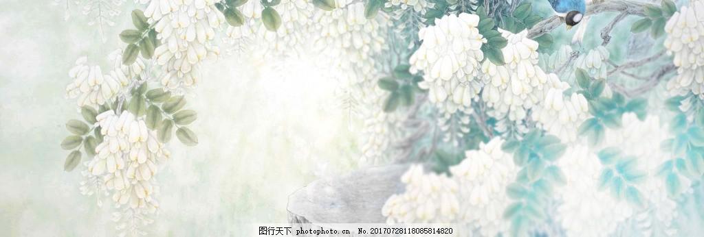 白色花朵banner背景图片 背景图图片 唯美背景图片 淘宝海报图片 背景素材图片